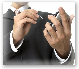 Homepage image of a businessman using a PDA
